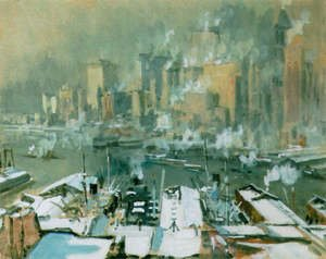 Famous paintings of Ships & Boats: A view of New York City in winter