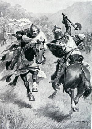 Expressionism painting reproductions: Encounter between Robert Bruce (1274-1329) and Sir Henry de Bohun (1276-1322) illustration from 'British Battles on Land and Sea' edited by Sir Evelyn Wood (1838-1919) first published 1915