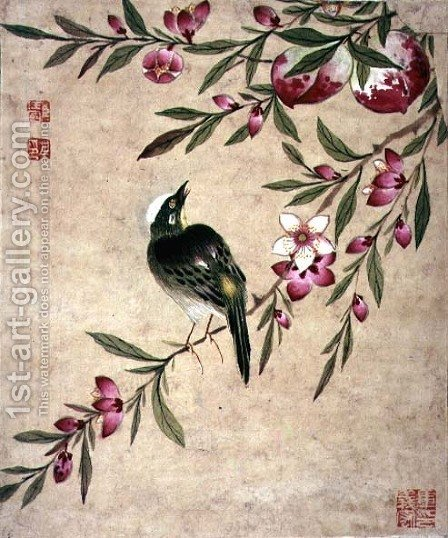 One of a series of paintings of birds and fruit, late 19th centur by Guoche Wang - Reproduction Oil Painting