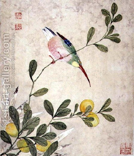 One of a series of paintings of birds and fruit, late 19th century 5 by Guoche Wang - Reproduction Oil Painting
