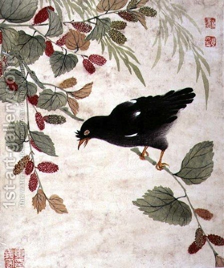 One of a series of paintings of birds and fruit, late 19th century 6 by Guoche Wang - Reproduction Oil Painting