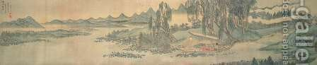Handscroll depicting a landscape with the colophon poem, Fishing in Willow Brook, Chinese, 1706 by Hui Wang - Reproduction Oil Painting