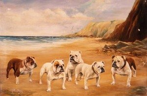 Expressionism painting reproductions: A Quintet of Bulldogs on a Beach