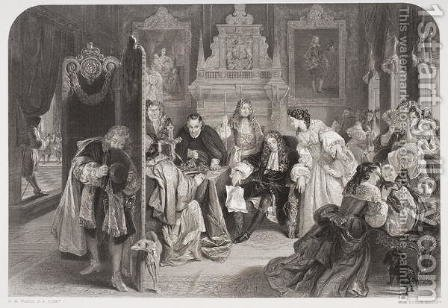 James II (1633-1701) receiving news of the landing of the Prince of Orange, engraved by F.A. Heath by (after) Ward, Edgar Melville - Reproduction Oil Painting