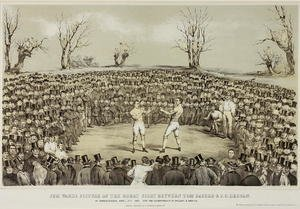Famous paintings of Boxing: The Great Fight Between Tom Sayers and J.C. Heenen at Farnborough, 17th April 1860, engraved by Wolmoth & Lopez