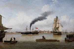 Neo-Classical painting reproductions: S.S. Forfarshire Leaving Hull on her Last Voyage