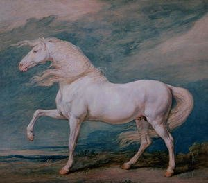 Romanticism painting reproductions: Adonis, a white stallion