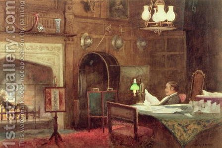 Interior of a Panelled Hall by Alfred J. Warne Brown - Reproduction Oil Painting
