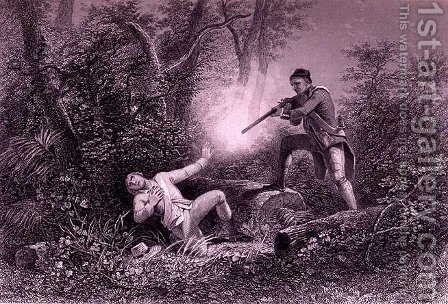 The Fratricide at Wyoming, 1778, from 'The History of the United States', Vol. I, by Charles Mackay, engraved by James Charles Armytage (c.1820-97) by Henry Warren - Reproduction Oil Painting