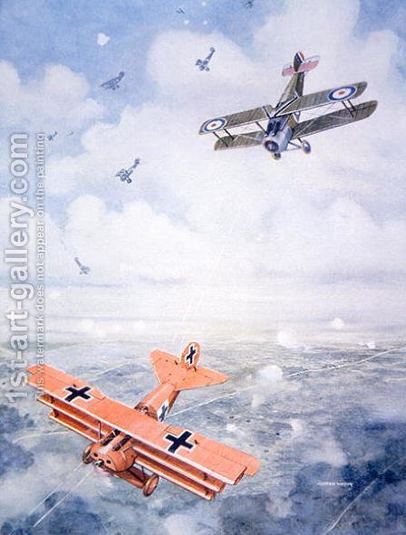 The Last Flight of Captain Baron von Richthofen, c.1920 by (after) Watson, Geoffrey - Reproduction Oil Painting