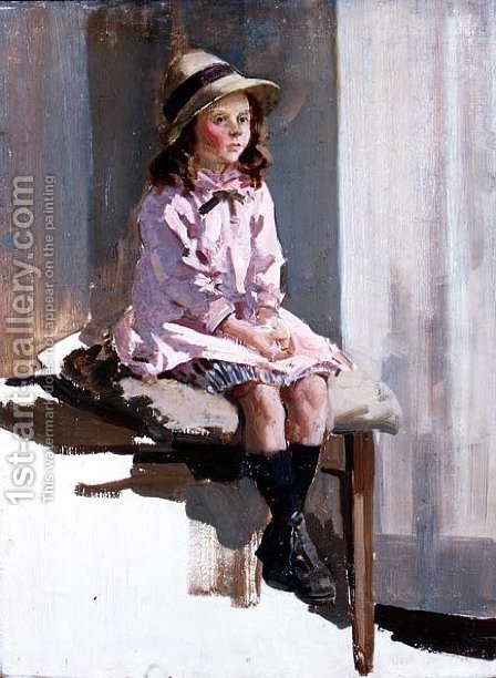Portrait of a young girl in a pink dress and a straw hat by Harry Watson - Reproduction Oil Painting