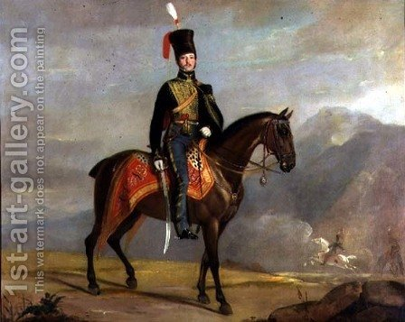 Captain William Drummond (1796-1881) 10th Hussars, 1819 by J. Watson - Reproduction Oil Painting