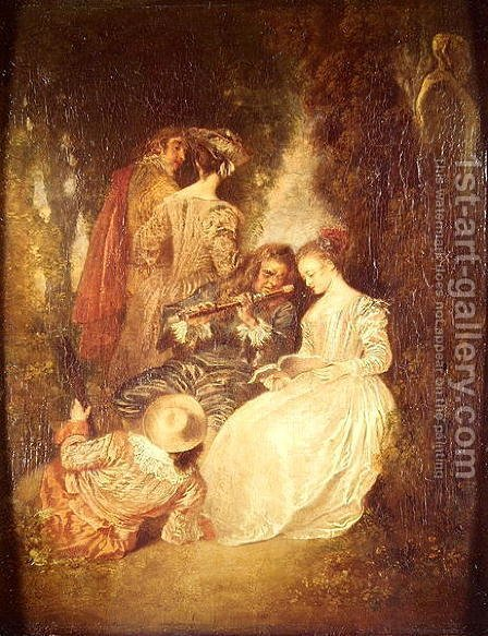 Perfect Harmony by (after) Watteau, Jean Antoine - Reproduction Oil Painting