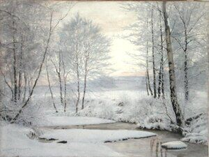 Famous paintings of Winter: Winter Sunset