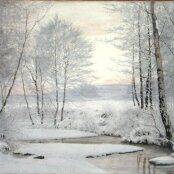 Oil painting reproductions - Expressionism - James Thomas Watts: Winter Sunset