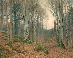 Reproduction oil paintings - James Thomas Watts - A Welsh Wood in Winter