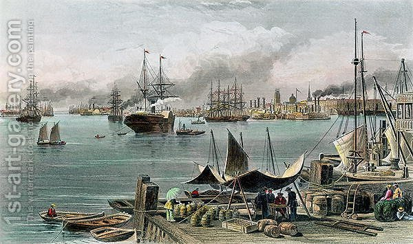 Huge version of Port of New Orleans, engraved by D.G. Thompson