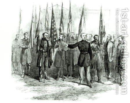 General Custer presenting captured Confederate flags in Washington on October 23rd 1864 by Alfred R. Waud - Reproduction Oil Painting