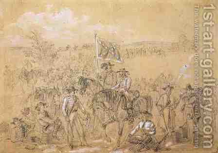 The First Virginia Cavalry at a Halt, from Harpers Weekly, 27th September 1862 by Alfred R. Waud - Reproduction Oil Painting