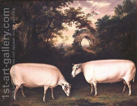 Thomas Weaver: Two Prize Border Leicester Rams in a Landscape, 1800 - reproduction oil painting