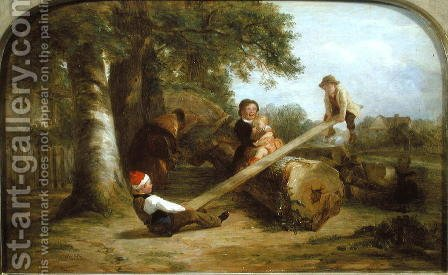 Thomas Webster: See-saw - reproduction oil painting