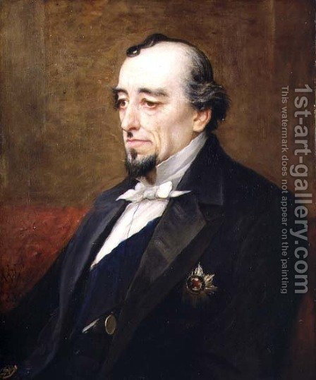 Portrait of Benjamin Disraeli, 1st Earl of Beaconsfield (1804-81) 1880 by Henry Jr. Weigall - Reproduction Oil Painting