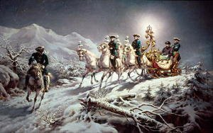 Famous paintings of Domestic Animals: Ludwig II (1845-86) of Bavaria Sleighing at Night from Neuschwanstein to Linderhof, 1888