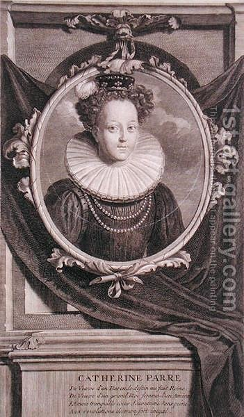 Portrait of Catherine Parr (1512-48) engraved by Vermeulen by Adriaen Van Der Werff - Reproduction Oil Painting