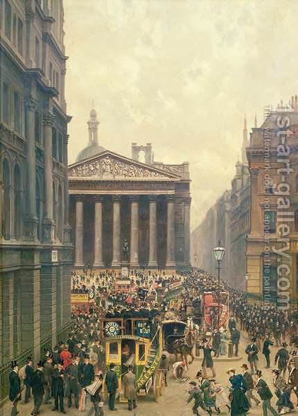 The Rush Hour by the Royal Exchange from Queen Victoria Street, 1904 by Alexander Friedrich Werner - Reproduction Oil Painting