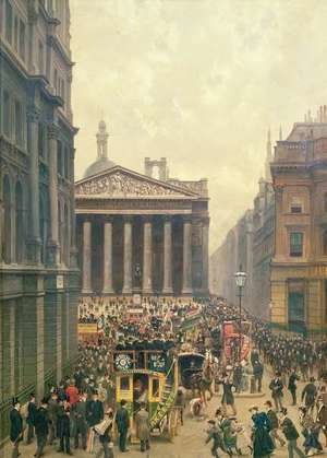 Alexander Friedrich Werner reproductions - The Rush Hour by the Royal Exchange from Queen Victoria Street, 1904