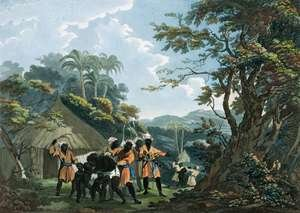 Famous paintings of Black Art: A View taken near Bain, on the coast of Guinea in Affrica, engraved by Catherine Prestell, published by J. Phillips, London, 1789