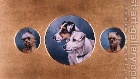 Fox Terriers and Yorkshire Terriers, 1905 by Alfred Wheeler - Reproduction Oil Painting