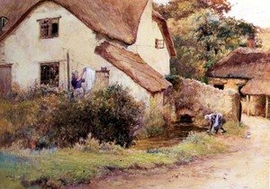 Reproduction oil paintings - John White - Cottage at Branscombe, Devon, 1894