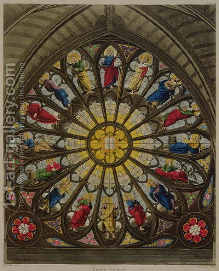 The North Window, plate D from Westminster Abbey, engraved by Frederick Christian Lewis (1779-1856) pub. by Rudolph Ackermann (1764-1834) 1812 by (after) White, William Johnstone - Reproduction Oil Painting