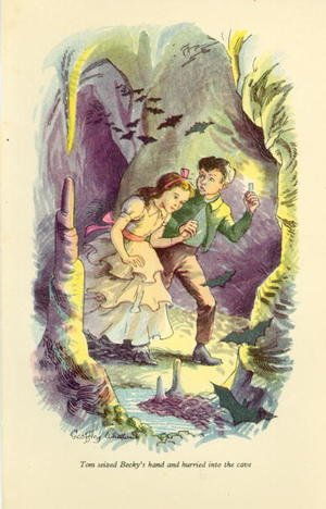 Tom seized Becky's hand and hurried into the cave', illustration from 'The Adventures of Tom Sawyer by Mark Twain (1835-1910)