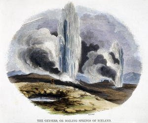 Reproduction oil paintings - Josiah Wood Whymper - The Geysers, or Boiling Springs of Iceland, from Phenomena of Nature, 1849