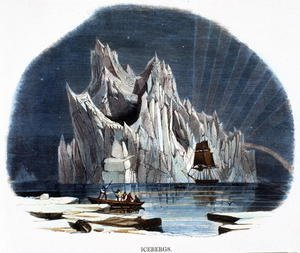 Reproduction oil paintings - Josiah Wood Whymper - Icebergs, from Phenomena of Nature, 1849