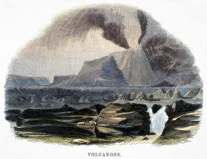 Reproduction oil paintings - Josiah Wood Whymper - Volcanoes, from Phenomena of Nature, 1849
