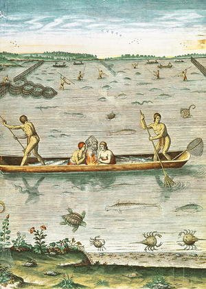How the Indians Catch their Fish, from Admiranda Narratio..., engraved by Theodore de Bry (1528-98) 1590