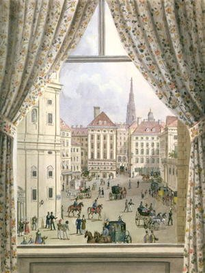 Neo-Classical painting reproductions: View of the Freyung, Vienna, 1825