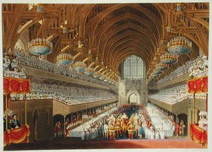 Charles Wild reproductions - The Royal Banquet, First Course, from an album celebrating the Coronation of King George IV (1762-1830) 19th July 1821, engraved by William James Bennett (1787-1844) published 1824