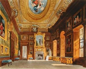 Reproduction oil paintings - Charles Wild - Queen Caroline's Drawing Room, Kensington Palace, from 'The History of the the Royal Residences', engraved by Thomas Sutherland (b.1785), by William Henry Pyne (1769-1843), 1819