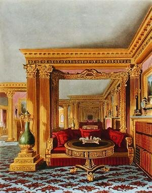 Reproduction oil paintings - Charles Wild - The Alcove in the Golden Drawing Room, Carlton House, from The History of the Royal Residences, engraved by William James Bennett (1787-1844), by William Henry Pyne (1769-1843), 1819