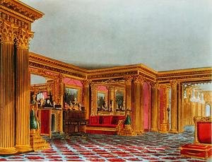 Reproduction oil paintings - Charles Wild - The Golden Drawing Room, Carlton House, from The History of the Royal Residences, engraved by Thomas Sutherland (b.1785), by William Henry Pyne (1769-1843), 1819