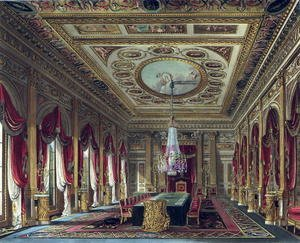 Neo-Classical painting reproductions: The Throne Room, Carlton House, from 'The History of the Royal Residences', engraved by Thomas Sutherland (b.1785), by William Henry Pyne (1769-1843), 1818
