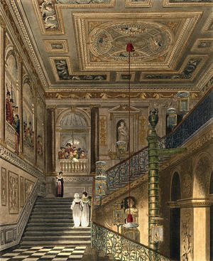 Reproduction oil paintings - Charles Wild - The Great Staircase at Kensington Palace From Pynes Royal Residences, engraved by Richard Reeve (b.1780) published in 1819