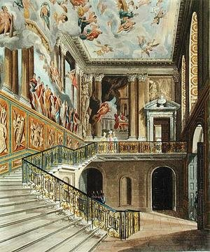 Reproduction oil paintings - Charles Wild - The Great Staircase at Hampton Court Palace from Pyne's 'Royal Residences' engraved by Richard Reeve (b.1780) published in 1819