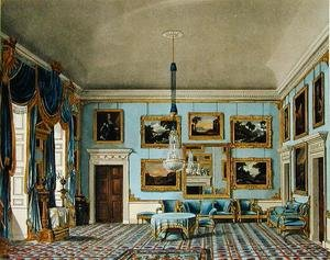 Reproduction oil paintings - Charles Wild - The Blue Velvet Room at Buckingham House, engraved by Daniel Havell (1785-1826), from The History of the Royal Residences of Windsor Castle, St. James Palace, Carlton House, Kensington Palace, Hampton Court and Frogmore, published by William Pyne, 1819