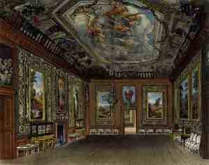 Reproduction oil paintings - Charles Wild - The Queens Drawing Room, Windsor Castle, from Royal Residences, engraved by Thomas Sutherland (b.1785), pub. by William Henry Pyne (1769-1843), 1816
