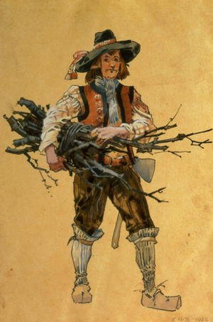 "A Forester, costume design for ""As You Like It"", produced by R. Courtneidge at the Princes Theatre, Manchester"